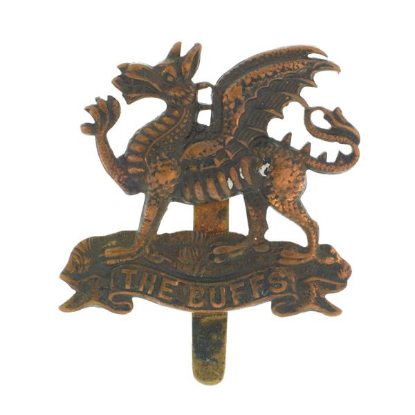 Cap badge belonging to Corporal William Cotter VC, 6th (S) Battalion, The Buffs (East Kent Regiment), c1916
