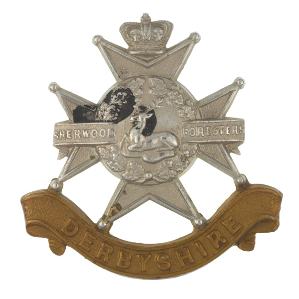 Other ranks' cap badge, Sherwood Foresters, c1900