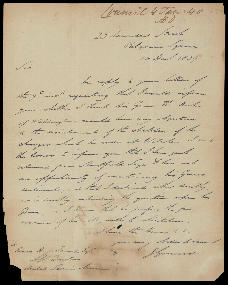 Letter from Colonel Gurwood to Royal United Services Council, 1839