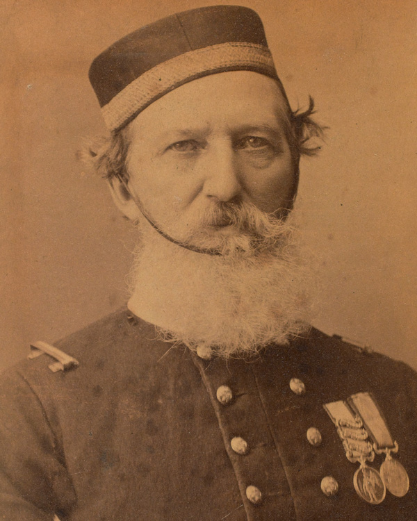 Frederick Peake in old age, wearing his coat from the Charge of the Light Brigade
