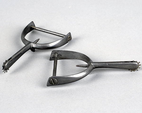 Spurs worn by Private William Sewell, 1854. Sewell was so badly injured in the charge that he had to have a plate put in his head.