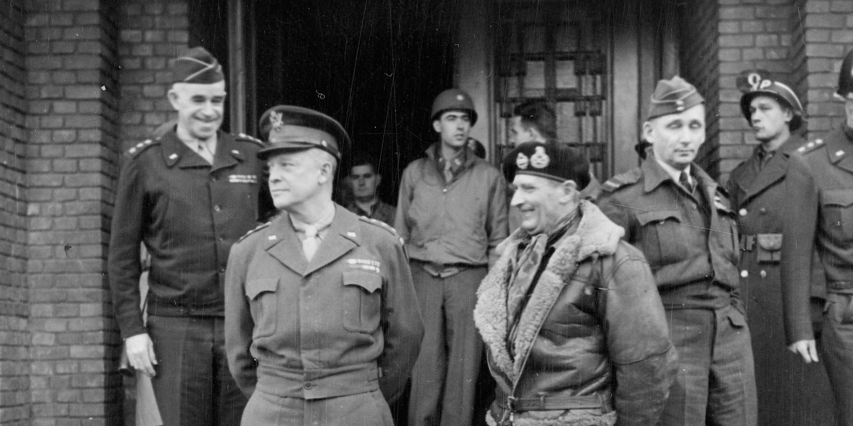 Allied commanders, including Generals Dwight Eisenhower and Bernard Montgomery, 1944