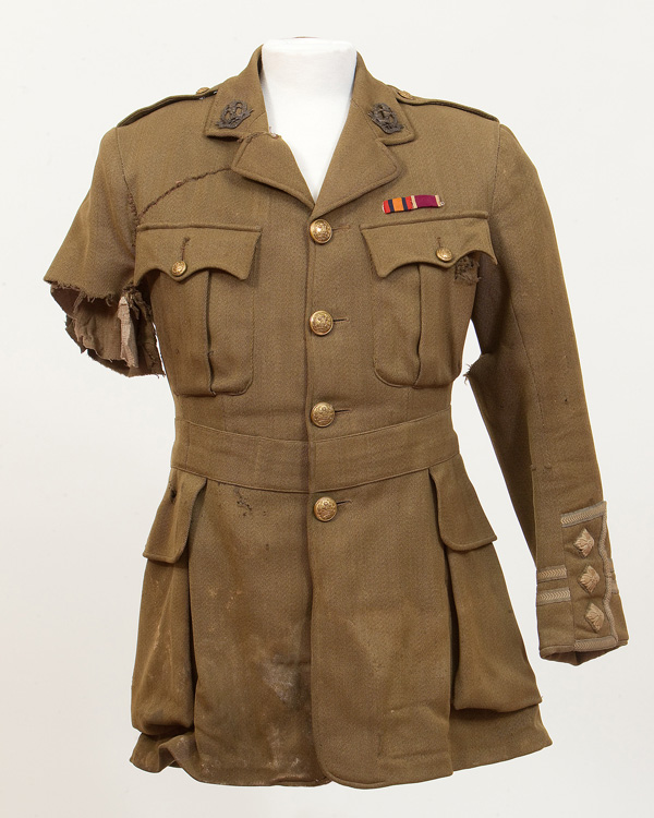Captain George Johnson wore this tunic on the first day of the Somme. He was injured in the arm