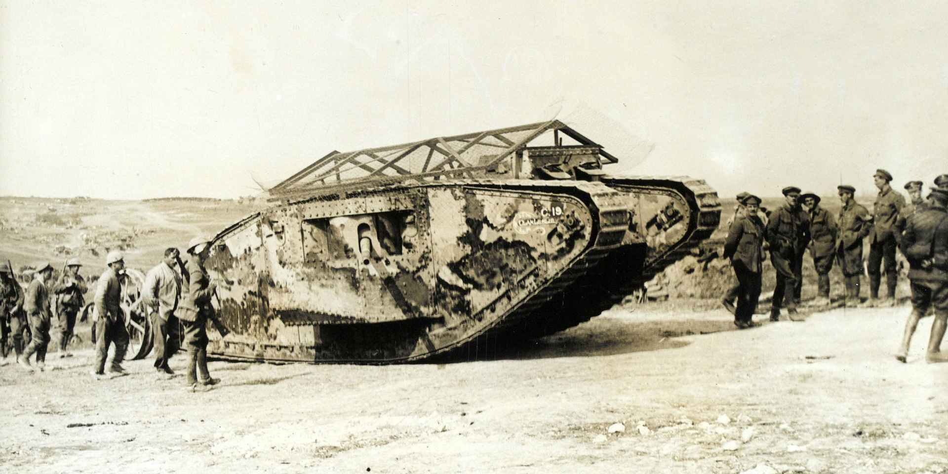 A tank making its way to the front line at Flers, 15 September 1916