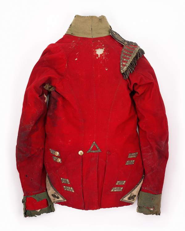 Bloodstained jacket worn by Henry Anderson, he was injured defending against the Imperial Guard at the end of the battle