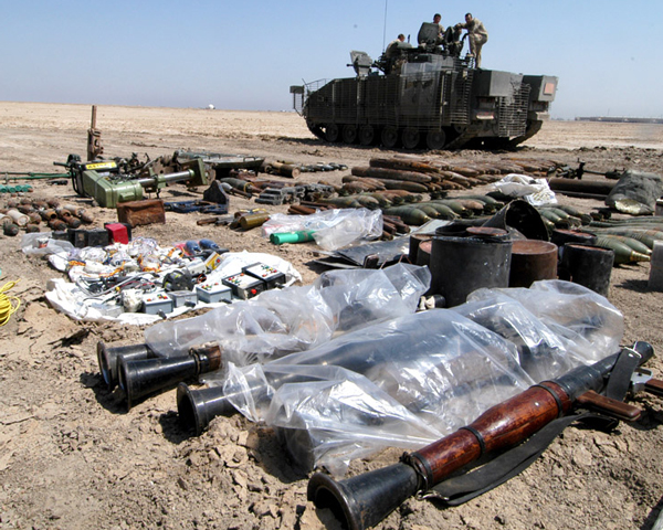 A haul of insurgent weapons, IEDs and equipment uncovered in 2006