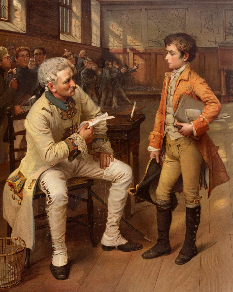 Wellington's First Encounter with the French, the Duke as a young boy being schooled at the Military College of Angiers