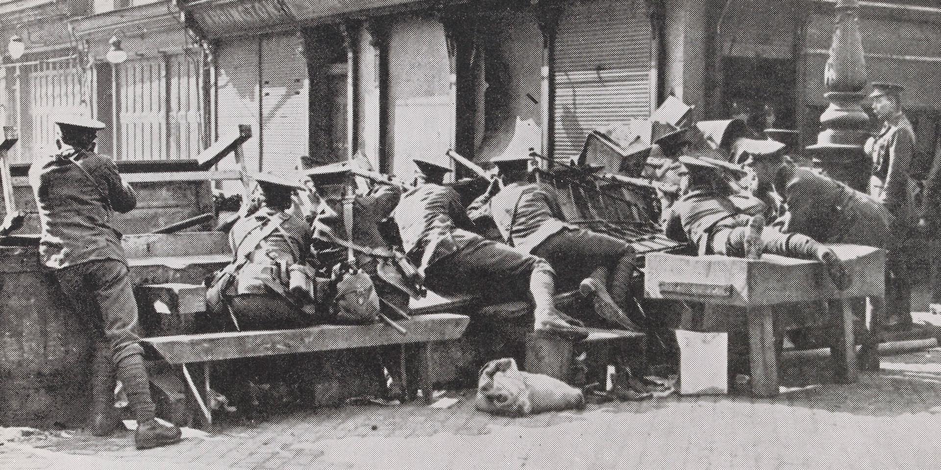 Irish Rebellion, May 1916. Holding a Dublin Street against the Rebels.