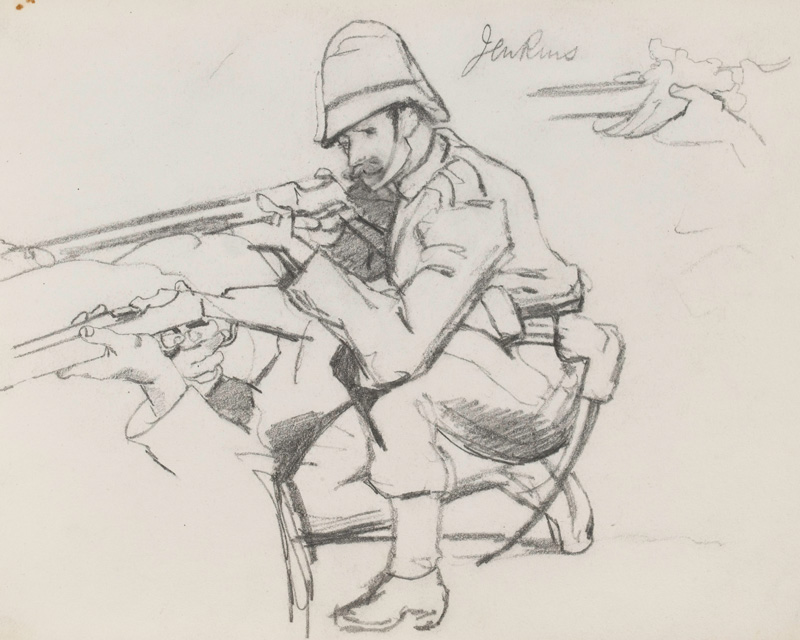 Study of Private David Jenkins, one of Lady Butler's sketches for her oil painting 'The Defence of Rorke's Drift'