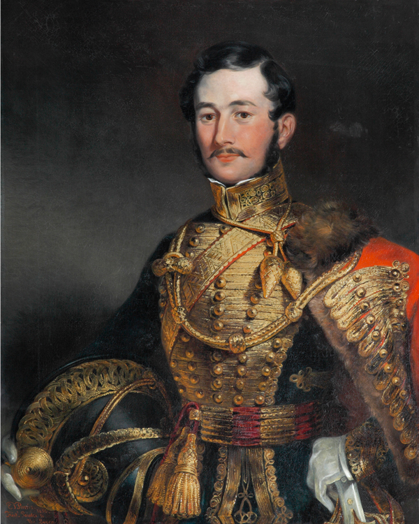 Captain F Farquharson of the 7th Hussars wearing a pelisse, 1836