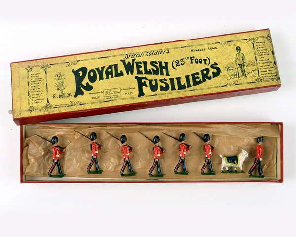 Royal Welsh toy soldiers play set, complete with goat mascot, 1930