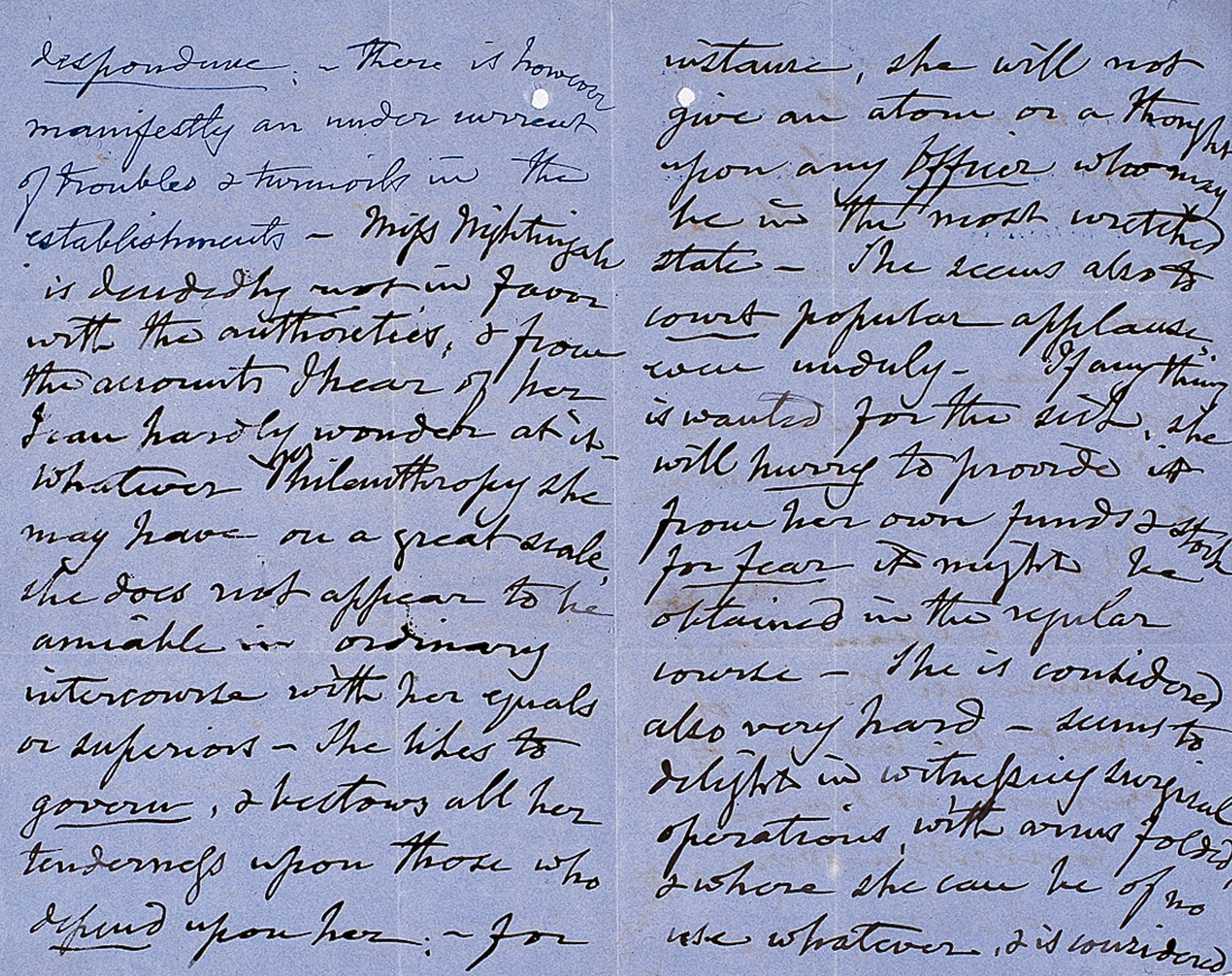 Letter from Florence Nightingale to Lord Raglan, 8 January 1855