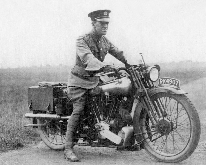TE Lawrence on his motorcycle, c1925