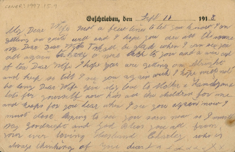 One of Charlie's postcards sent to Martha from Stendal Prisoner of War camp in 1918.