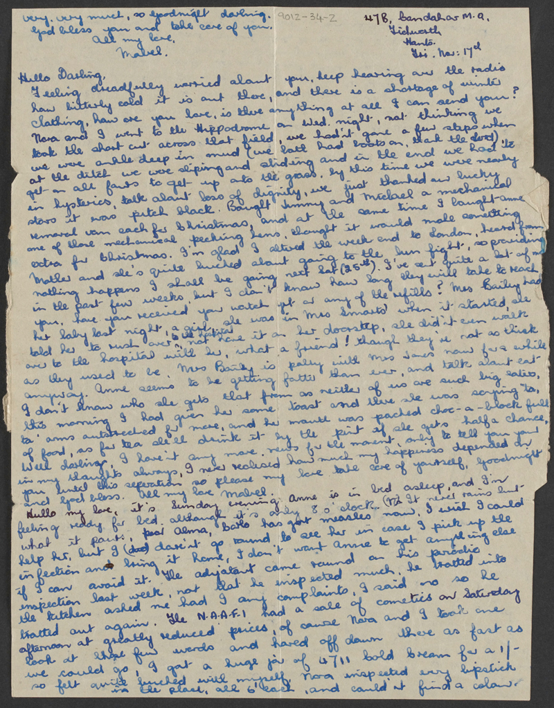 One of Mabel's long letters to Anthony, 17 November 1950
