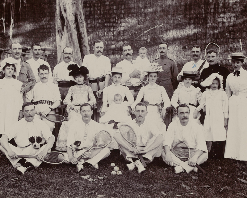 Officers of The Buffs (East Kent Regiment) at a lawn tennis meeting, 1900