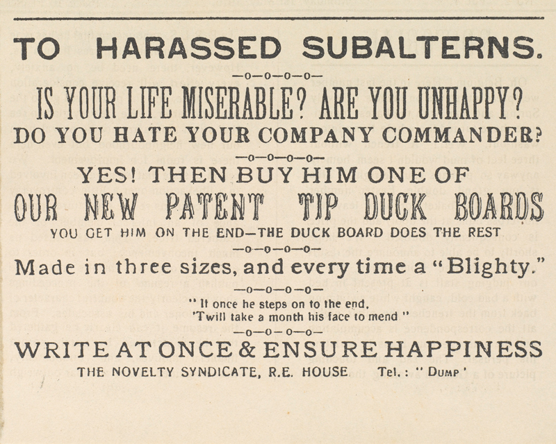 Spoof advertisement in 'The BEF Times', 8 September 1917