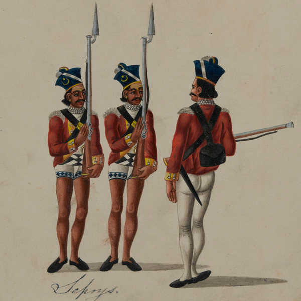 Sepoys and an Indian officer, c1815