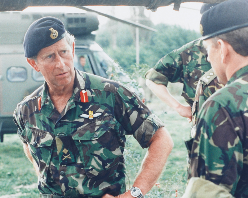 Prince Charles visiting the Queen's Dragoon Guards in Kosovo, 1999