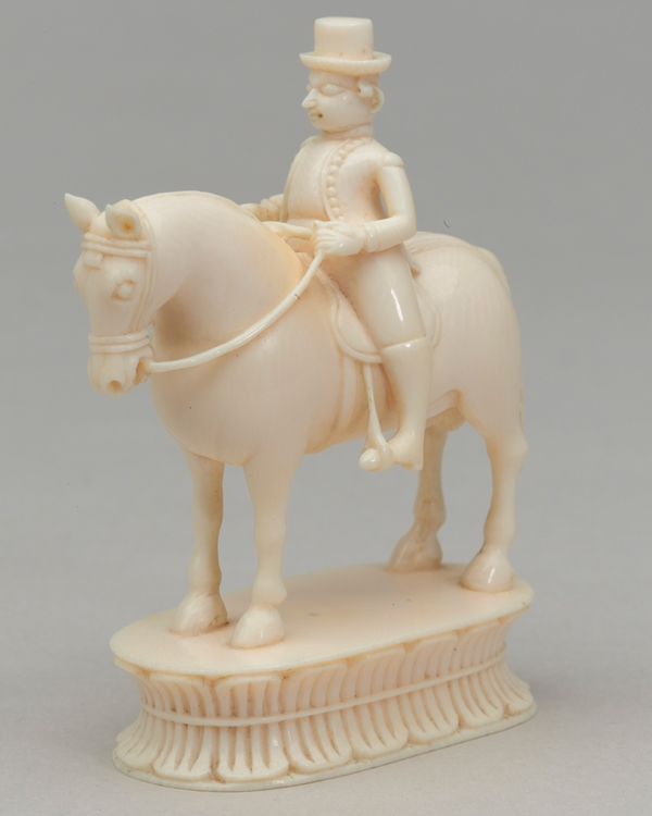 White knight, chess piece, India, 1820