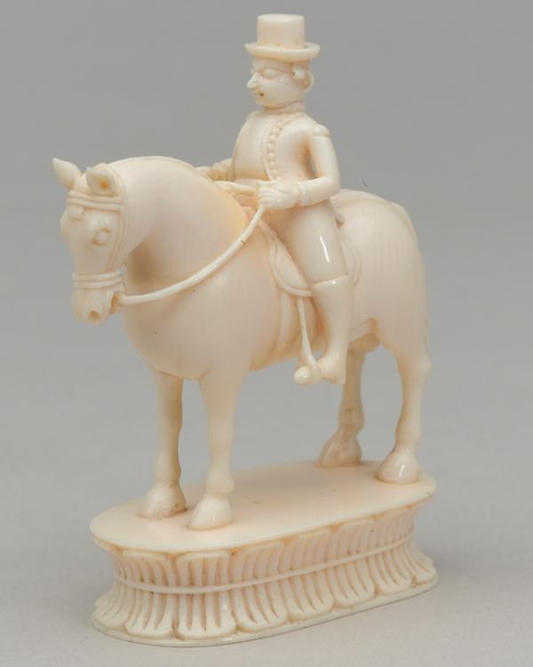 White knight, chess piece, India, 1820
