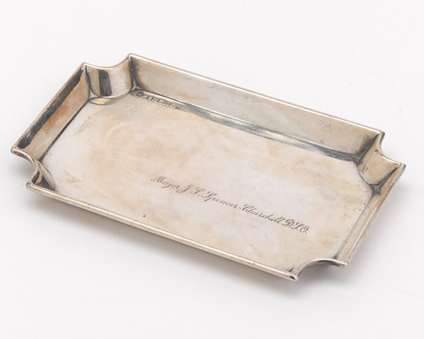 This silver ashtray was presented to Major John Spencer-Churchill by the Great Western Railway in thanks for his assistance during the General Strike in 1926