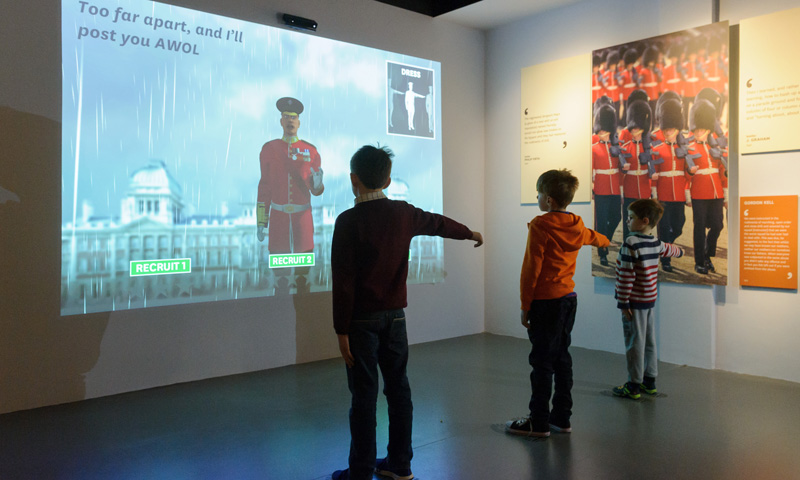 Children using the drill sargeant interactive
