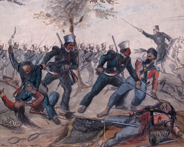 Gurkhas assaulting a Sikh position, 1845