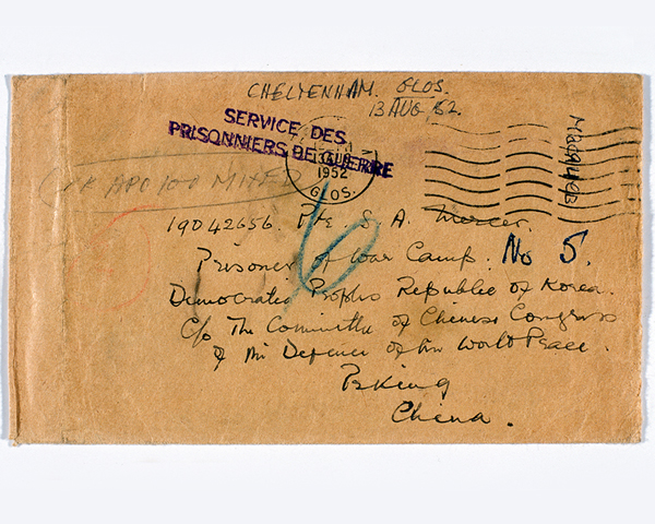 Letter sent to Private Sam Mercer while a POW in North Korea. He was captured at Imjin.