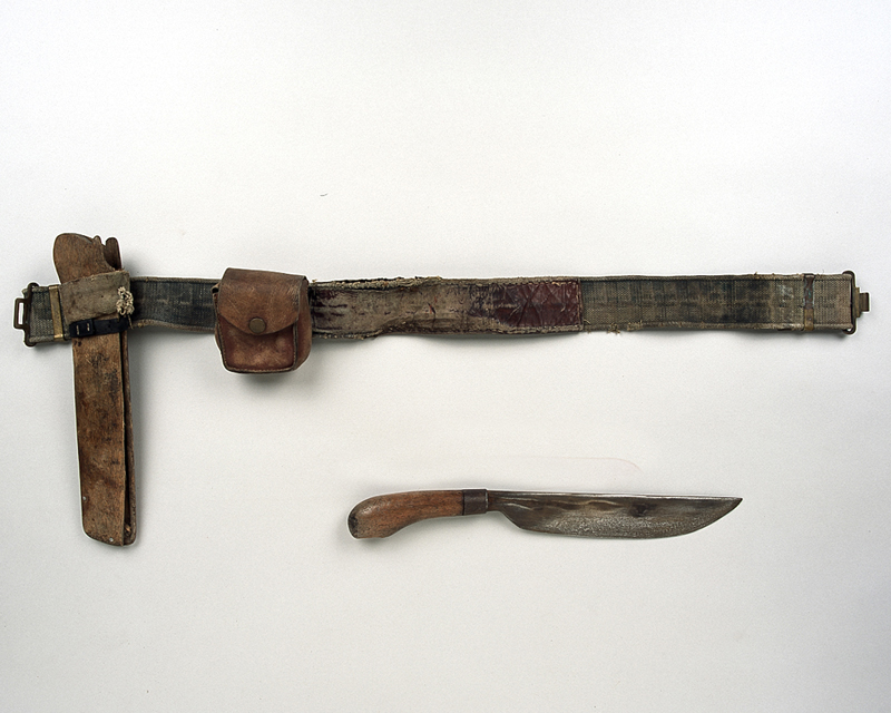 Knife and belt used by communist forces in Malaya, 1955