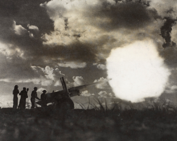 A 4.5 inch gun near Tarhuna during 8th Army's advance on Tripoli, February 1943