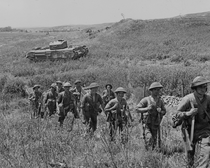 Infantry moving up during 1st Army's attack on Longstop Hill, Tunisia, April 1943