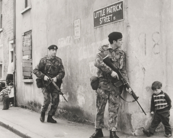 On patrol in Little Patrick Street, Belfast, 1973