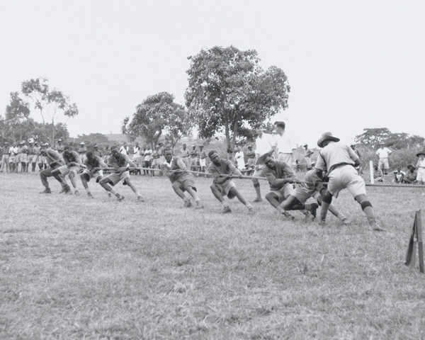 Tug-of-war contest at 4th (Uganda) Battalion, The King's African Rifles' Sports Day at King George V Barracks in Jinja, Uganda, 1956