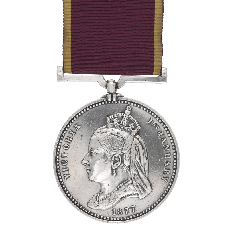 Empress of India Medal awarded to Sergeant Major J Pepper, 1877