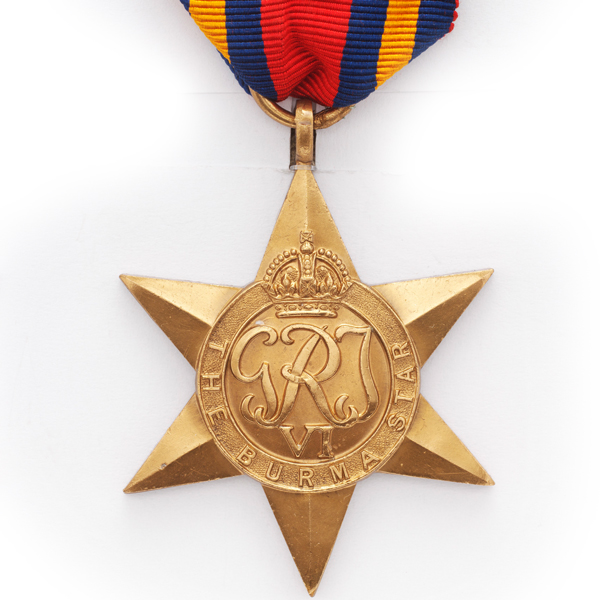 Burma Star 1941-45, awarded to Major J W Parkinson, Indian Army Reserve and Indian Electrical and Mechanical Engineers.