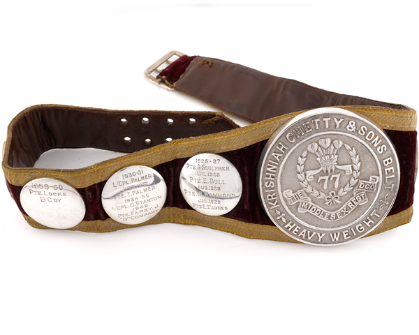 Middlesex Regiment heavyweight boxing belt engraved with names of winners, 1926-60
