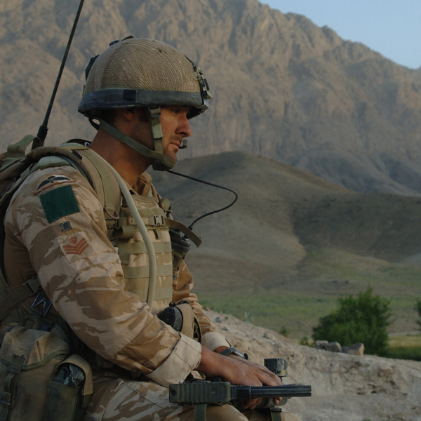 A colour sergeant of 3 PARA on operation in Zabul Province, Afghanistan, 2008