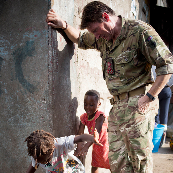 Brigadier Charlie Herbert in Sierra Leone during the Ebola Crisis, 2015. His rank is visible on his chest. © Kate Holt