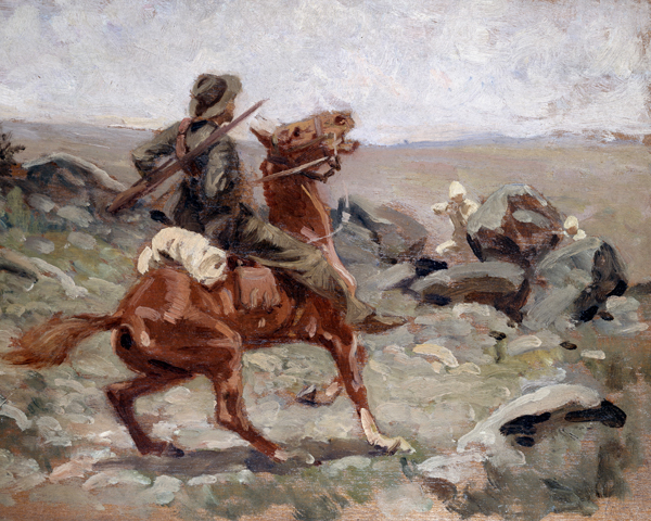 An Ambush, Boer War, 1900 by William Barns Wollen. Wollen travelled to South Africa with 'The Sphere' and made paintings from memory on his return