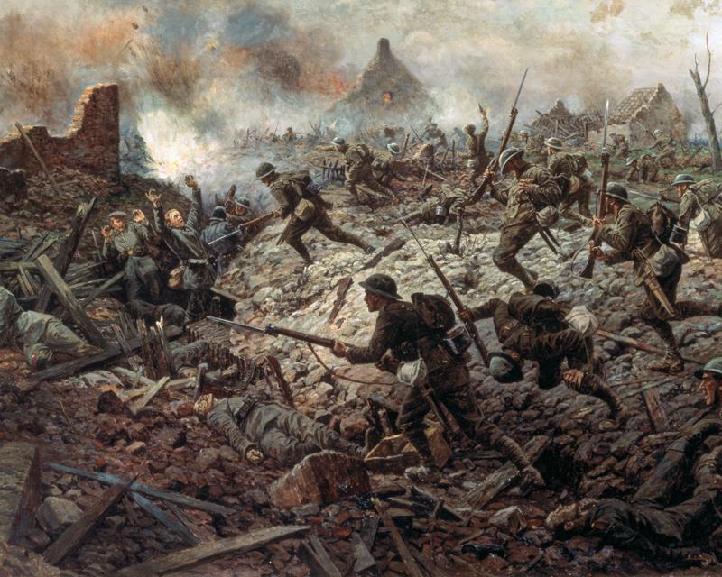 The London Territorials at Pozières, 23 July 1916, by William Barns Wollen 1917, which includes some of the figures from the preliminary sketch.
