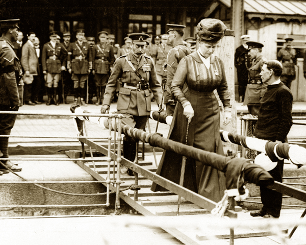 King George V and Queen Mary embark for home following their visit to the Western Front, 1917
