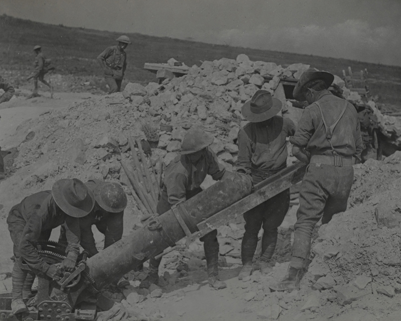 Australians loading a 9.45 inch trench mortar on the Somme, August 1916