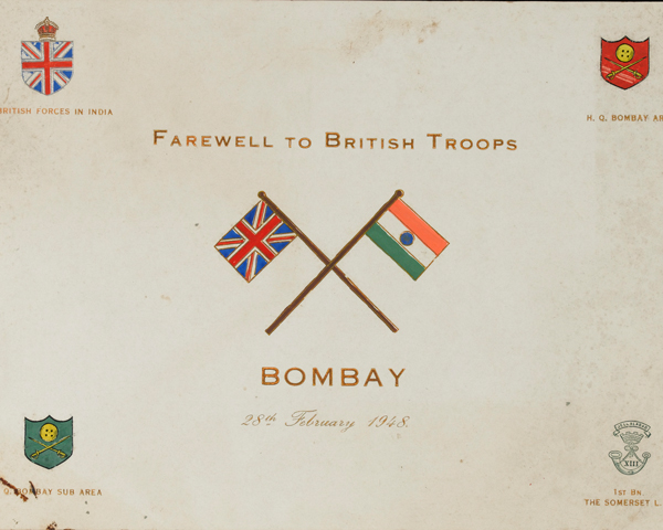 Programme for the final 'Farewell to British Troops', Bombay, 28 February 1948