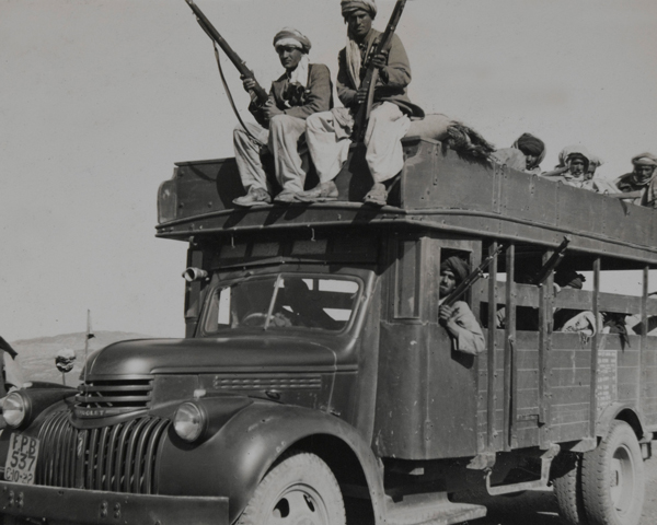 Tribal irregulars from North West Frontier bound for Kashmir, 1947