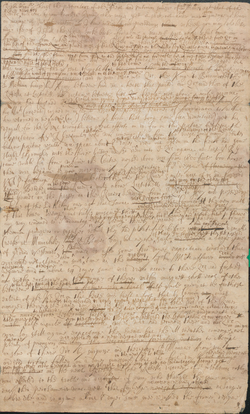 Draft letter by Sir Edward Walker  which contains an account of the Battle of Lostwithiel, August - September 1644.