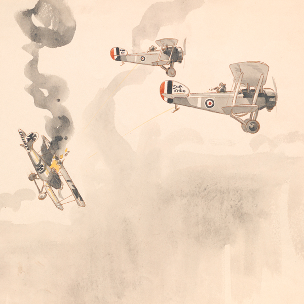 Two British fighters destroying a German fighter aircraft, By Lt R B Talbot Kelly, 1917