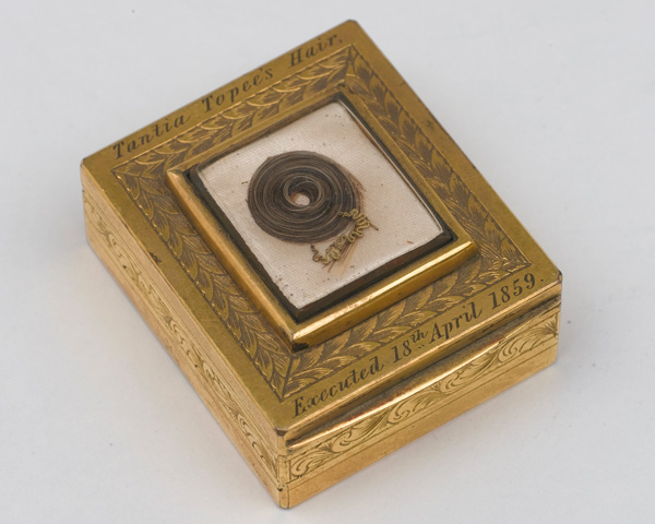 Snuff-box containing a lock of Tantya Tope's hair, removed after his execution in 1859