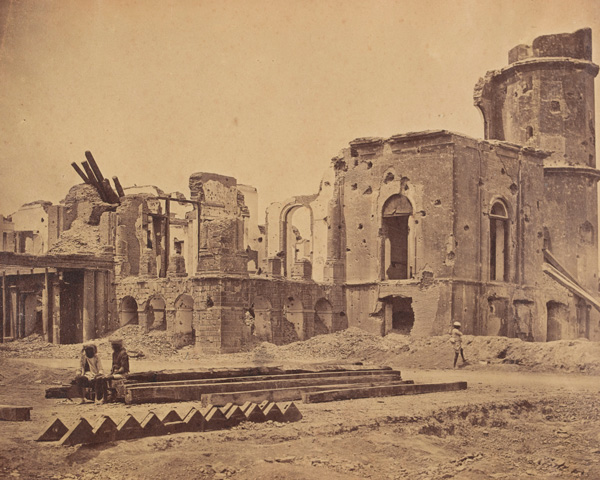 The ruined front of the Lucknow Residency, 1858