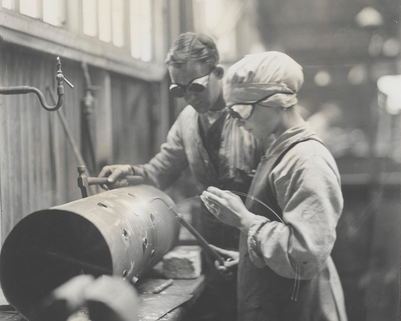 A WAAC mechanic in a Royal Flying Corps workshop, 1917